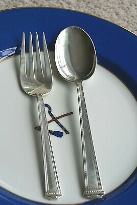 J.S. Co. Sterling Silver Serving Fork and Serving Spoon 1920 No Monogram