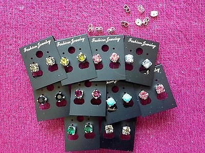 JOBLOT-10 pairs of 0.6cm colour diamonte stud earrings.Silver plated.UK made.