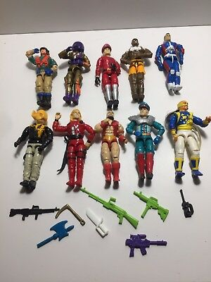 LOT OF 10 VINTAGE 1990's GI JOE ACTION FIGURES & Weapons Free Shipping!!