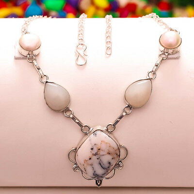 Dendrite Opal,white Chalcedony,river Pearl Gemstone 925 Silver Jewelry Necklace