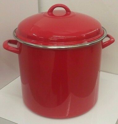 Red Porcelain Enamel on Steel 16 Quart Stockpot (Crate and Barrel) NEW
