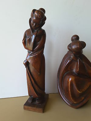 Two Oriental Asian Carved Wood Figures Statues Japanese Women