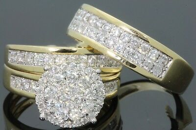 14K Yellow Gold Diamond Bridal Engagement Ring His And Her Trio Wedding Band Set
