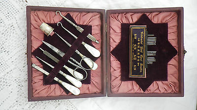 Antique Sewing Sharps Needle Box Mother Of Pearl Tools Thimble Scissors Etui