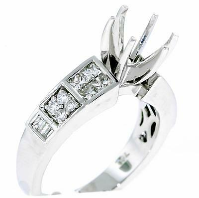 Diamond Engagement Ring Setting 0.73ct Semi Mount 18k White Gold