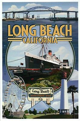 Long Beach California Montage, Ship Queen Mary Lighthouse etc. - Modern Postcard