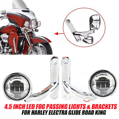 4.5 Inch LED Auxiliary Fog Passing Lights & Brackets For Harley Street Glide