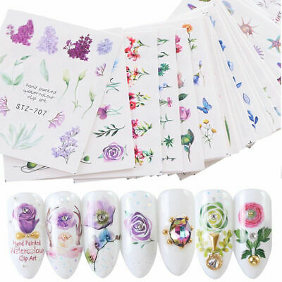 2-50 sheets Nail Art Water Decal Transfer Stickers Manicure DIY Tips Decoration