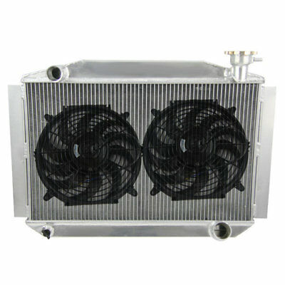 "3Row Alloy Radiator W/ 2x12""Fans FIT 55-60 Chevy Corvette 350 V8 Transmission AT"