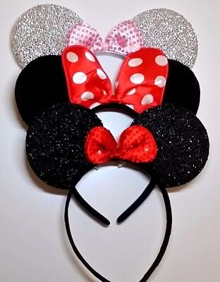 3 Minnie Mouse silver-sequin- red dot Bow-Minnie Ears Headband Disney adult/kid