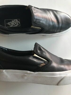 Black Leather Vans 39