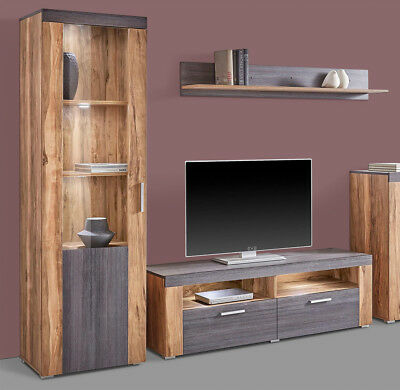 wohnwand buche 7 teilig 3 10m breit nebeneinander 2 10m. Black Bedroom Furniture Sets. Home Design Ideas