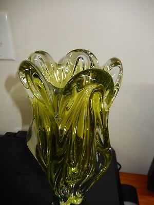 HEAVY LARGE ART GLASS VASE   - 29cm HIGH - APROX WEIGHT 2.9kg