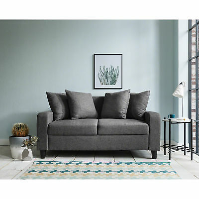 2 Seater Sofa - Grey Fabric - Settee Couch with 4 Free Scatter Cushions