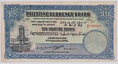 Israel Palestine Great Britain 10 Pounds - 1939 Fine To Very Fine