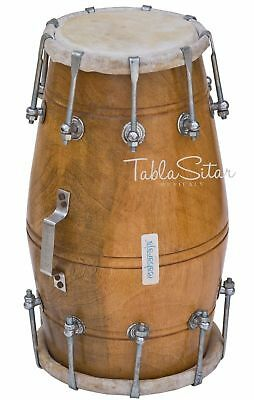 Dholak|Maharaja|Indian Dholki|Dholak|Natural Color|Mango Wood|Bolt Tuned|Bag|Aj
