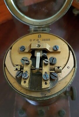 Antique brass Telegraph Relay GPO with bevel glass