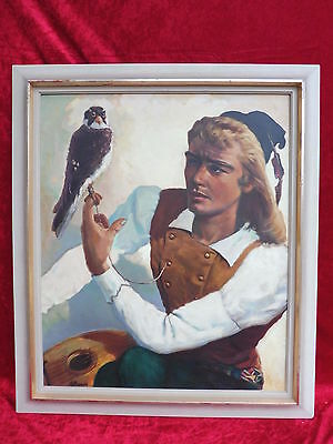 Pretty, Old Gemaelde__Falconer With Falcon Signed__