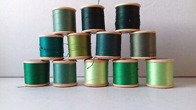 12 Vintage Dewhurst Sylko Cotton Reels = Shades Of Green