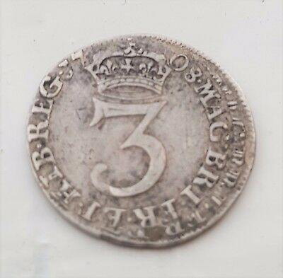 1708 Queen Anne silver three penny coin