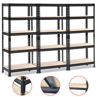 3x 0.9M Black Steel Warehouse Racking Rack Storage Garage Shelving Shelf Shelves
