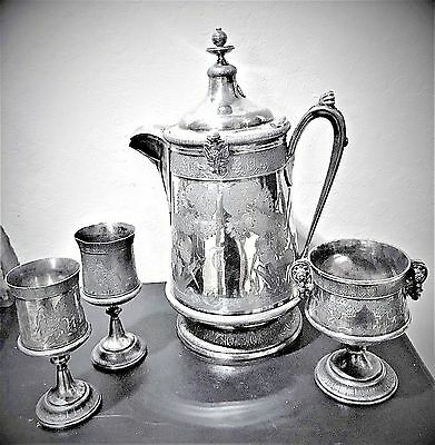 Antique 1872 Reed Barton Ice Water Pitcher Etched Silverplate Goblets