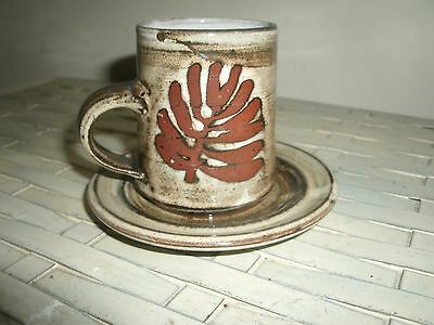 Single Briglin studio pottery fern coffee cup & saucer, (3 avail)