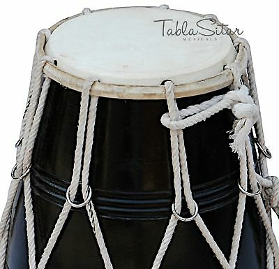 Dholak Indian|Maharaja|Mango Wood Black Dholak|Rope Tuned|Dholki With Bag|Cjb-2