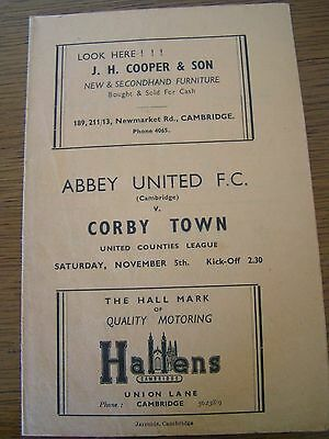 Abbey United v Corby Town Match Programme - 5 November 1949