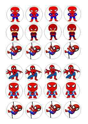 24 Spiderman  No 2   Cupcake Topper Iced  Icing Edible Fairy Cake Toppers