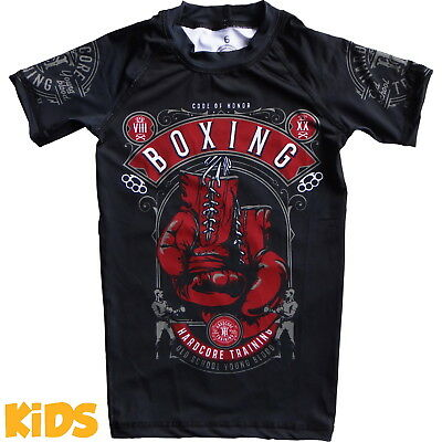Kids Rashguard Hardcore Training Code Of Honor Niño Compresión superior MMA Fitn
