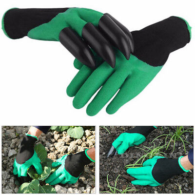 Hot Garden Gloves for Digging Planting with 4 ABS Plastic Claws gardening gloves
