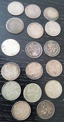 A collection of 17 silver 3 penny coins