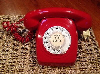 Red Dial Telephone Pmg 1973 Nice Condition.