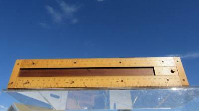 Early Ruler Measuring Instrument with Sliding Block in Centre Inches Tenths & Mi