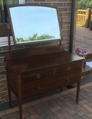A Victorian Mahogany Dressing Table With Bevel Edge Mirror