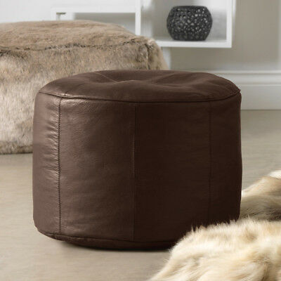 Luxury Real Leather Pouffe Designer Footstool  Brown Leather Stool  Footrest