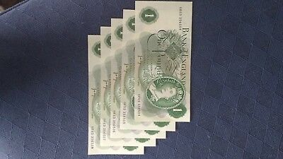 5 Old £1 notes consecutive and uncirculated 'HR63'