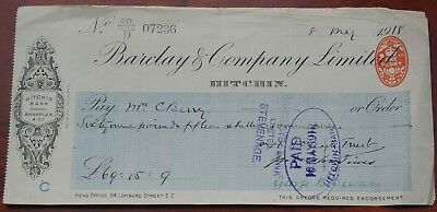 Barclays Bank Ltd., Hitchin branch used cheque dated 1918, Hitchin Bank formerly