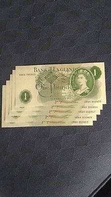 5 Old £ notes consecutive and uncirculated 'HR64'
