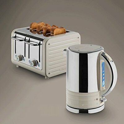 Dualit Architect Stainless Steel Kettle & 4 Slice Toaster Set Oyster White