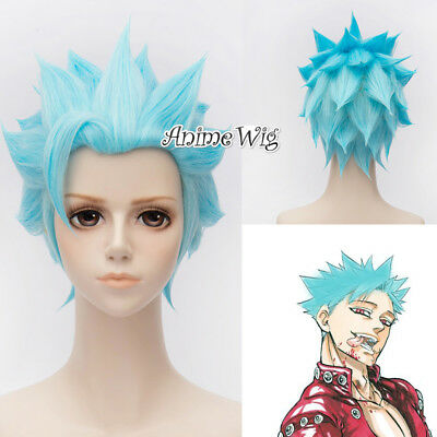 Rick And Morty  Anime Cosplay Wig Sky Blue 30cm Heat Resistant Party Perücke WOW