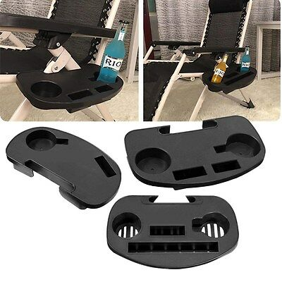 Lounge Chair Side Tray Cup Holder Lawn Beach Table Pool Folding Zero Gravity