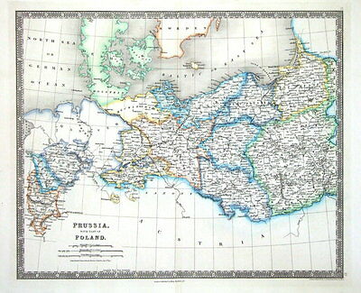 PRUSSIA & POLAND  Teesdales Original Hand Coloured Antique Map 1841