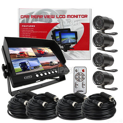 """9"""" Quad Monitor+4x 4Pin 28mm 10 IR LEDs Reversing Camera 4x 10m Cables For Truck"""