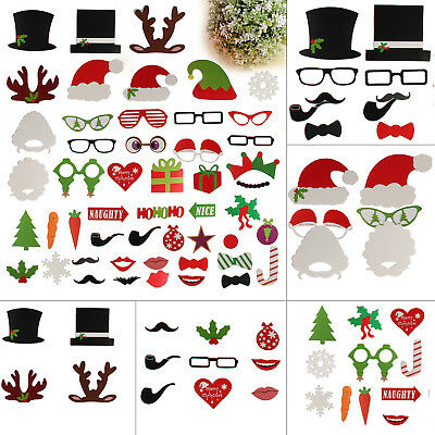 50pcs Christmas Festive Party Photo Booth Props Set DIY Mustache On A Stick UK