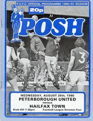 Peterborough United V Halifax Town Division 4 Wednesday 20/8/1980