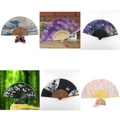 Japanese Wood Small Wedding Beautiful Handheld Useful Folding Fan Silk Handheld