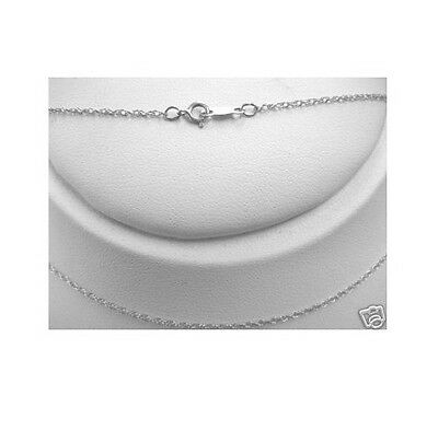 """10K Solid White Gold Lite Rope Chain 16"""" Necklace No Reserve"""