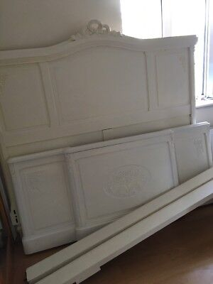 French Double  Antique Carved Bedframe In Need Of TLC